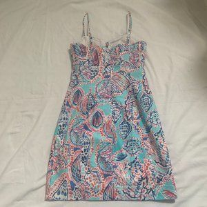 """Lilly Pulitzer Women's Petra Dress """"Shell Me About It""""Blue Pink Size 00"""